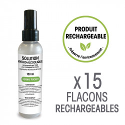 Solution hydro-alcoolique - 15 Flacons format pocket de 150 mL rechargeables