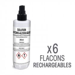 Solution hydro-alcoolique - 6 Flacons de 250 mL rechargeables