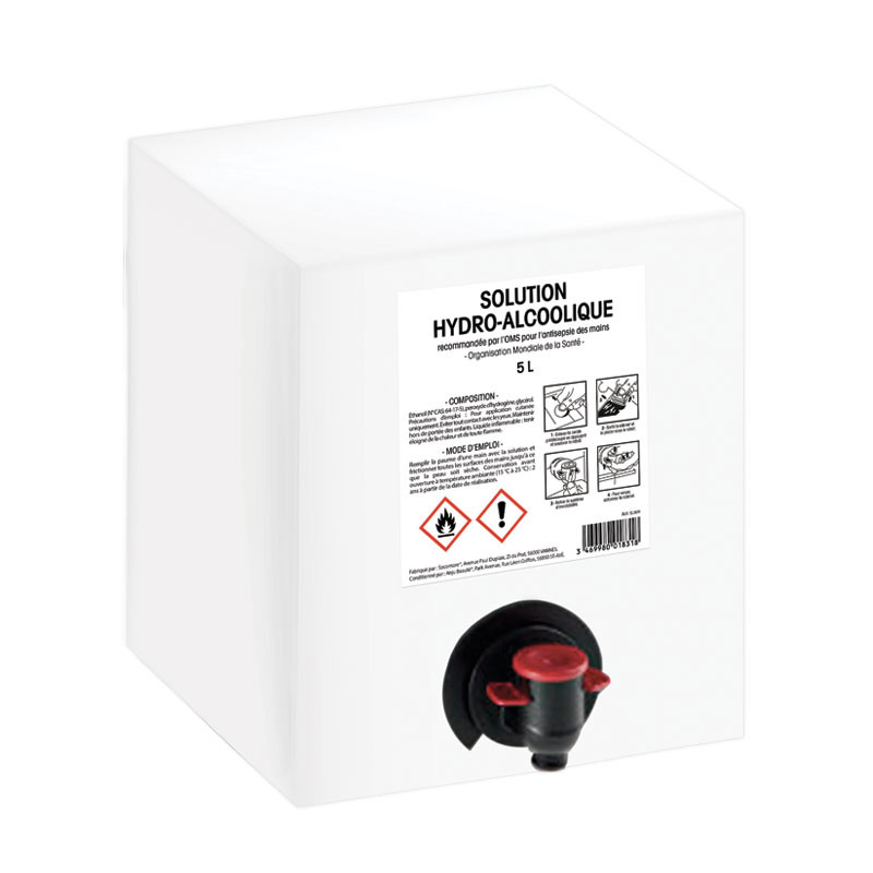 Solution hydro-alcoolique - Bag in box de 5L