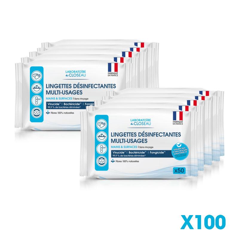 Lingettes désinfectantes multi-usages - Mains et surfaces - Carton de 100