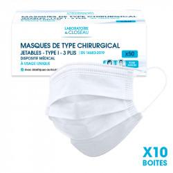 Carton de 10 boîtes de Masques de type chirurgical - Jetables - Type I - 3 plis - 3 couches 0