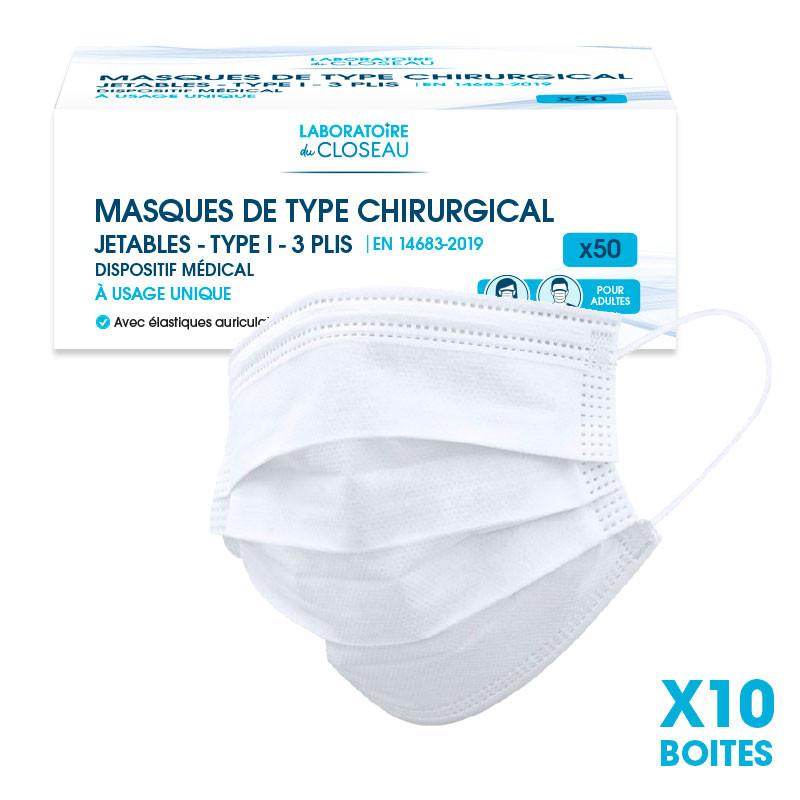 Carton de 10 boîtes de Masques de type chirurgical - Jetables - Type I - 3 plis - 3 couches